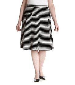 Relativity® Plus Size A-Line Pieced Stripe Skirt