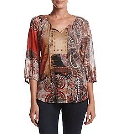Laura Ashley® Petites' Collage Print Top