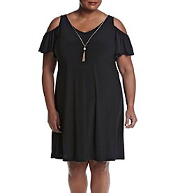 Prelude® Plus Size Cold Shoulder Trapeze Dress