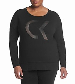 Calvin Klein Performance Plus Size Logo Long Sleeve Tee