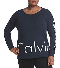 Calvin Klein Performance Plus Size Cutoff Logo Tee