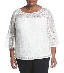 AGB® Plus Size Lace Bell Sleeve Top