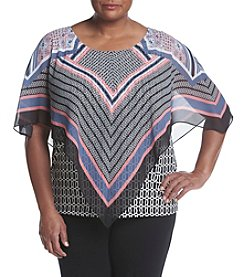 AGB® Plus Size Mixed Print Popover
