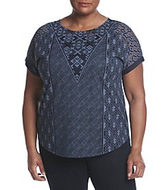 Ruff Hewn GREY Plus Size Geo Lace Tee