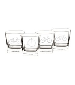 Cathy's Concepts Set of 4 Bicycle Rocks Glasses