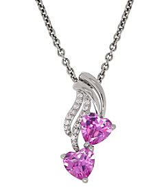 Sterling Silver Pink Sapphire Heart Pendant Necklace