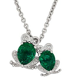 Created Emerald Frog Pendant In Sterling Silver