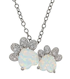 Opal Paw Print Pendant In Sterling Silver
