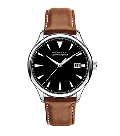 Movado™ Heritage Series Men's Cognac Leather Strap Watch