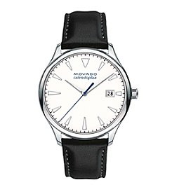 Movado™ Heritage Series Men's Black Leather Strap Watch