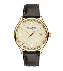 Movado™ Heritage Series Men's Chocolate Leather Strap Watch