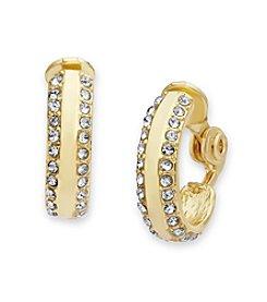 Anne Klein® Simulated Crystal Clip On Hoop Earrings