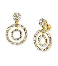 Anne Klein® Simulated  Crystal Orbital Clip Earrings