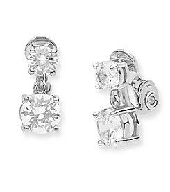 Anne Klein® Cubic Zirconia Clip Drop Earrings