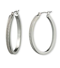 Gloria Vanderbilt™ Silvertone Textured Hoop Earrings