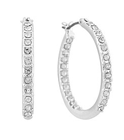 Gloria Vanderbilt™ Crystal Medium Inside Out Hoop Earrings