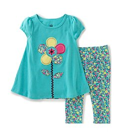 Kids Headquarters® Girls' 2T-6X 2-Piece Flower Tunic Top and Leggings Set