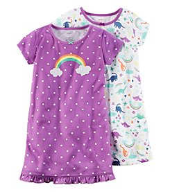 Carter's® Girls' 4-14 2-Pack Dino Gowns