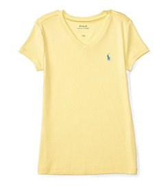 Polo Ralph Lauren® Girls' 7-16 V-Neck Short Sleeve Tee