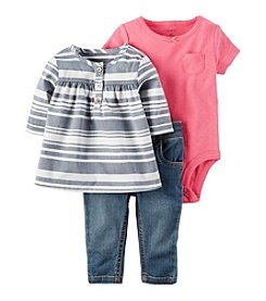 Carter's® Baby Girls' 3-Piece Shirt And Denim Set