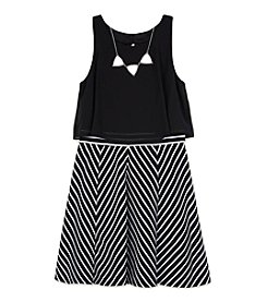 Amy Byer Girls' 7-16 Popover Striped Skirt Dress