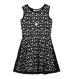 Amy Byer Girls' 7-16 Patterned Laser Cut Dress