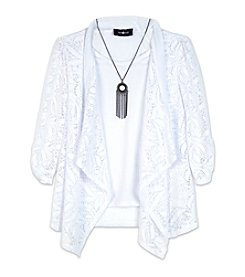 Amy Byer Girls' 7-16 Lace Open Long Sleeve Cardigan