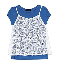 Amy Byer Girls' 7-16 Blue Short Sleeve Tee and Lace Camisole