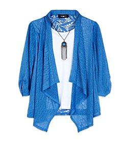 Amy Byer Girls' 7-16 Lace Open Long Sleeve Cardigan