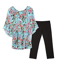 Amy Byer Girls' 7-16 Printed Babydoll Tunic Top and Leggings Set