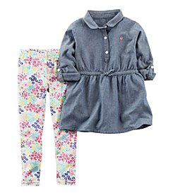 Carter's® Girls' 2T-4T 2-Piece Chambray Tunic Top and Floral Leggings Set