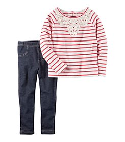 Carter's® Girls' 2T-4T 2-Piece Striped Top And Jeggings Set
