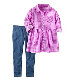 Carter's® Girls' 2T-4T 2-Piece Plaid Tunic Top And Jeggings Set