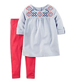Carter's® Girls' 2T-4T 2-Piece Chambray Striped Top And Leggings Set