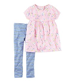 Carter's® Girls' 2T-4T 2-Piece Floral Top And Striped Leggings Set