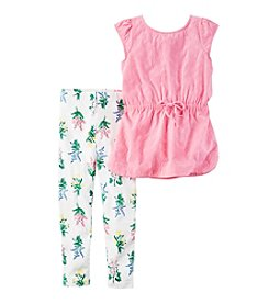 Carter's® Girls' 4-8 2-Piece Flutter Sleeve Top And Floral Leggings Set
