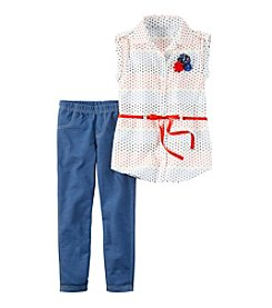 Carter's® Girls' 4-8 2-Piece Dotted Top And Jeggings Set