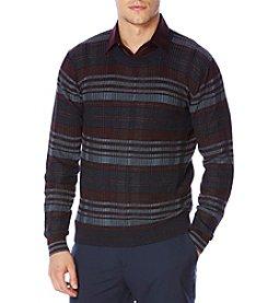 Perry Ellis® Men's Plaid Crew Neck Sweater