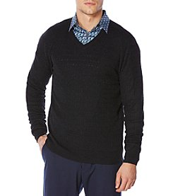 Perry Ellis® Men's Winter Textured V-Neck Sweater