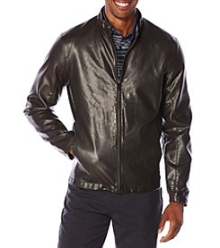 Perry Ellis® Men's Faux Leather Bomber Jacket