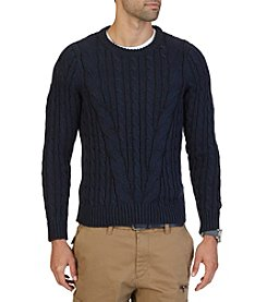 Nautica® Men's Mapped Cable Knit Crew Neck Sweater
