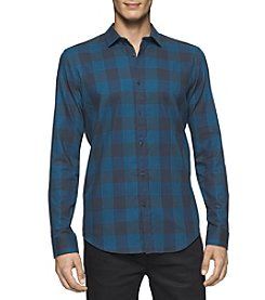 Calvin Klein Men's Long Sleeve Crepe Buffalo Check Button Down Shirt