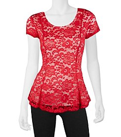 A. Byer Lace Peplum Top