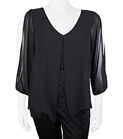 A. Byer Plus Size Layered Lace Top