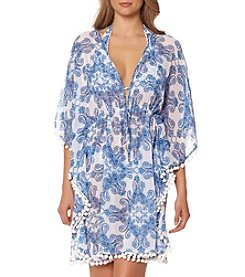Bleu|Rod Beattie® Paisley Pom Trim Caftan