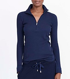 Lauren Active® Zip Up Knit Top