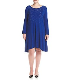 Nina Leonard Plus Size Scoop Neck Dress