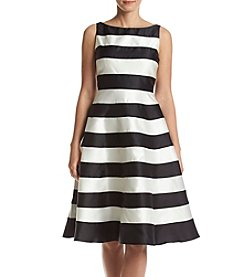 Adrianna Papell Striped Boat Neck Dress