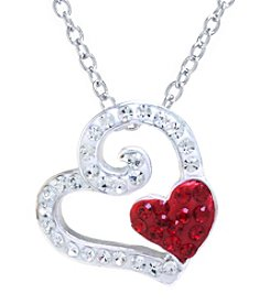 Athra Silver-Plated Crystal Heart Pendant Necklace
