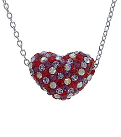Athra Silver-Plated Multicolor Crystal Heart Pendant Necklace